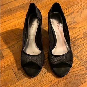 Open toed sparkly black heels